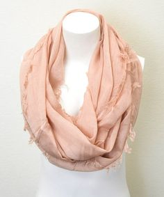 Look what I found on #zulily! Leto Collection Peach Frayed Infinity Scarf by Leto Collection #zulilyfinds