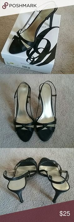 Nine West Black Satin Stiletto heels Great party dress shoes!  Strappy black satin pointed toe.  Worn once or twice, kept in original box. Nine West Shoes Heels