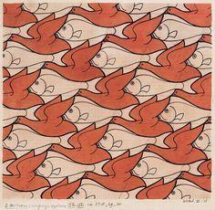 Birds and Fish by MC Escher Escher Tessellations, Tessellation Art, Op Art, Escher Kunst, Mc Escher Art, Negative Space Art, Tesselations, Dutch Artists, Elements Of Art