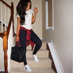 Casual - adidas superstars and lululemon outfit