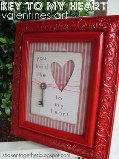 Key to my heart. Black frame and pale colors... for the bedroom, or next to a picture of us