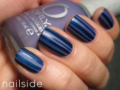 Love this sparkly midnight blue nailslide nail art!