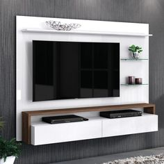 Compre Painel para TV até 58 Polegadas Toronto Living Belaflex Branco/Malte em até sem juros e entrega para todo Brasil. Tv Unit Decor, Tv Wall Decor, Tv Cabinet Design, Tv Wall Design, Tv Unit Furniture Design, Tv Wanddekor, Tv Wall Cabinets, Modern Tv Wall Units, Living Room Tv Unit Designs