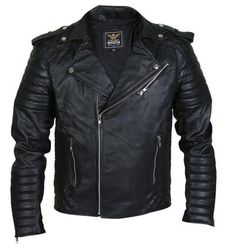 Men Black Brando Motorcycle Leather Jacket with shoulder epaulets and padded sleeves Herren Schwarz Motorcycle Leather, Biker Leather, Leather Men, Black Leather, Best Leather Jackets, Leather Jacket With Hood, Leather Fashion, Mens Fashion, Fashion Edgy