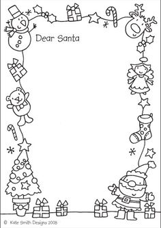 Letter For Santa (to Colour In)   Kate Smith Designs| Letters From Santa  Christmas List To Santa Template