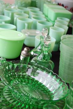 Jadite and green depression glass, my favorites! Conspicuous consumption