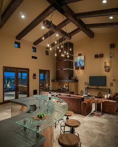 Luxury rustic living room interior design in a Desert House in Arizona Tuscan Living Rooms, Mediterranean Living Rooms, Interior Design Kitchen, Interior Design Living Room, Living Room Designs, Living Room Decor, Decor Room, Style At Home, Cosy Home