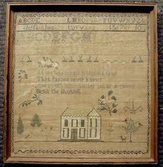 American dated 1847 Medford Mass silk on linen house sampler by Mary L Bradley in Antiques, Linens & Textiles (Pre-1930), Samplers | eBay