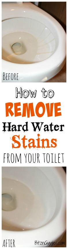 How to Remove Hard Water Stains From Your Toilet - A safe. effective and natural way to remove hard water stains from your toilet without any harsh chemicals. It literally takes minutes and leaves your toilet bowl clean and sparkly like it was when you purchased it!