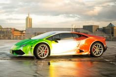 A #wrapped tricolour #Lamborghini_Huracan costs €10,000 more than any other similar #model. Find more #auto_news and #cars_for_sale on www.repokar.com.