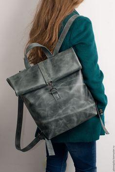 Купить Сумка рюкзак Ролл Скрутка серый черный из натуральной кожи - однотонный, серый, сумка