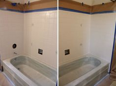 Tips From the Pros on Painting Bathtubs and Tile   Painted bathtub ...