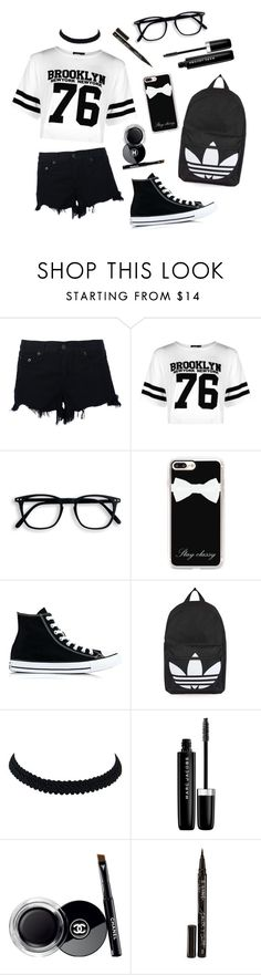 """""""Black and White School"""" by krazy-kitten ❤ liked on Polyvore featuring rag & bone, Boohoo, Casetify, Converse, Topshop, Marc Jacobs, Chanel and Smith & Cult"""