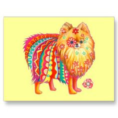 BELLE- The centre image of the Pomeranian dog decorated with patterns and flowers all through its fur, along with the choice of the bright colour scheme, entertains the audiences as it is out of the ordinary. This postcard gives a sense of nostalgia to the 1970s fashion style, allowing audiences to enjoy the design even more.