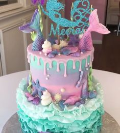 Little Mermaid Cakes, Mermaid Birthday Cakes, Mermaid Cupcakes, Little Mermaid Birthday, Mermaid Barbie, Barbie Cake, Girl Cakes, Pretty Cakes, Cakes And More