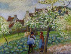 The Athenaeum - Flowering Plum Trees (Camille Pissarro - )