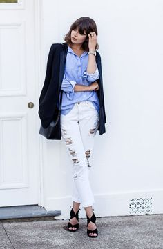 talisa sutton look destroyed jeans camisa blazer