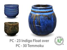 AMACO Potter's Choice layered glazes PC-30 Temmoku and PC-23 Indigo Float.