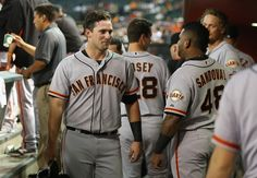 Andrew Susac of the San Francisco Giants reacts in the dugout after scoring a second inning run against the Arizona Diamondbacks during the MLB game at Chase Field on Sept. 17, 2014, in Phoenix, Ariz.  (Christian Petersen/Getty Images)