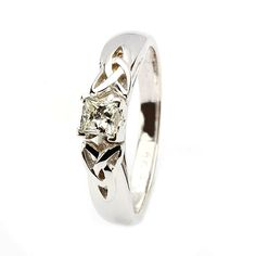 Celtic engagement ring 14k white gold solitaire princess cut diamond. - Engagement Rings from Shanore