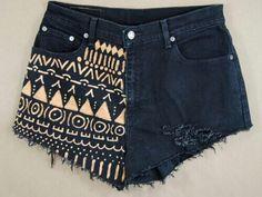 Black shorts with Aztec print