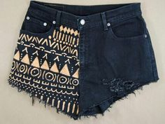 Black shorts with Aztec print