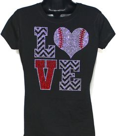 Baseball Love Zebra Bling Rhinestone Tshirt by TheTeeShirtMakers, $19.99