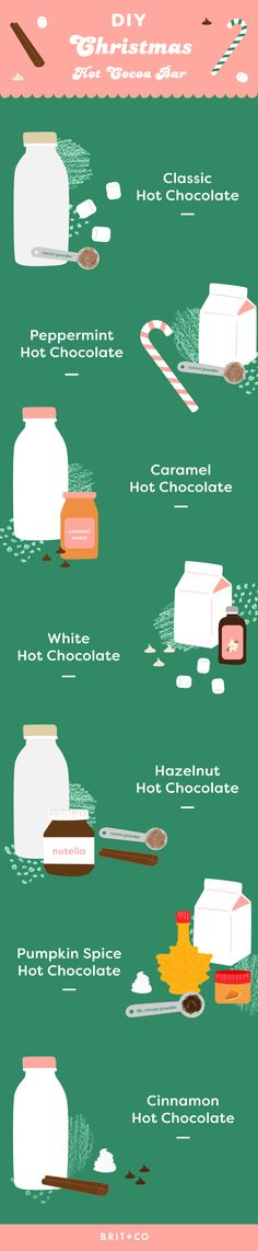 Save this holiday hot drink recipe infographic to make your own DIY Christmas Hot Cocoa Bar to sip on warm drinks like Classic Hot Chocolate, Peppermint Hot Chocolate, Caramel Hot Chocolate, White Hot Chocolate, Hazelnut Hot Chocolate, Pumpkin Spice Hot Chocolate, and Cinnamon Hot Chocolate.