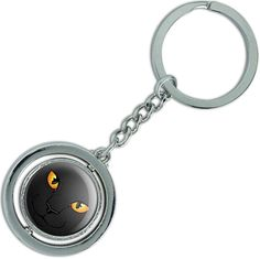 "Amazon.com: Unique & Custom 1 Single Medium Size ""Split"" Circle Keychain Ring Made of Chrome w/ Dark Children's Cartoon House Pet Bright Eye Kitty Cat Design Charm Made of Metal {Black, Orange & Silver}: Automotive"