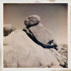 A stack of rocks extraterrestrial facing the moon 238,900 miles away | Joshua Tree National Park, California, USA, Earth | 9012014