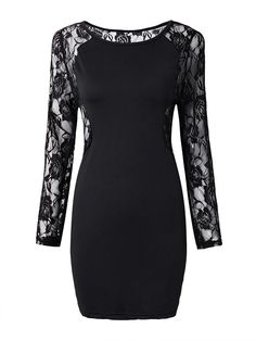 70fb38bbc58 Women Plus Size Black Lace Splicing Sexy Hollow Out Mini Dress