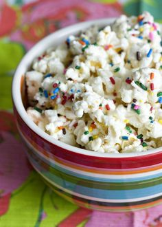 Erica's Sweet Tooth » Funfetti Cake Batter Popcorn. use air popped popcorn instead of microwave