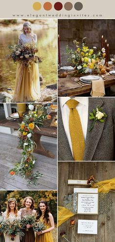 muted mustard yellow, pumpkin, orange red and earthy tone fall wedding color palettes