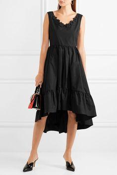 Fendi - Appliquéd Cotton-taffeta Midi Dress - Black - IT46