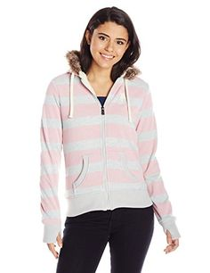 8dd581ec2617 U.S. Polo Assn. Junior s Striped Fleece Hooded Jacket with Colored Sherpa  Lining