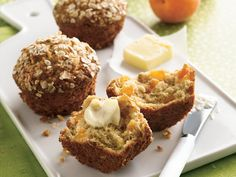 Apricot-Oatmeal Muffins. Sweet bits of dried apricots balance the hearty texture of oats in mouth-watering muffins.