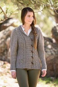 """Go There Now Designer Jen Hagan Finished Size 39 (41, 43 1/2, 45 1/2, 49 1/2, 54)"""" bust circumference, buttoned. Cardigan shown measures 39"""", modeled with 5"""" of positive ease. Yarn Classic Elite Yarns MountainTop Crestone (100% natural undyed wool; 100 yd [91 m]/1 3/4 oz [50 g]): #5144 umber, 16 (17, 17, 18, 21,…"""