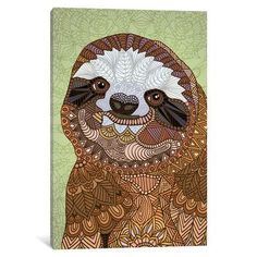"""East Urban Home Smiling Sloth Graphic Art on Wrapped Canvas Size: 40"""" H x 26"""" W x 0.75"""" D"""