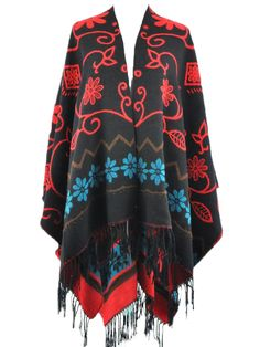 Love Love LOVE! Want! Black Poncho With Tassel