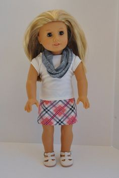 American Girl Doll Clothes Pink Navy and Cream by CircleCSewing, $15.00