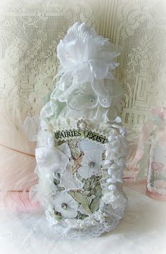 Vintage Altered Art Bottle Moonflower Fairy Bottle by treasured2