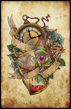 Hourglass Clock Tattoo Hourglass Clock And Triangle
