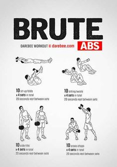 Because the abdominal muscle group is already pretty strong, eliciting an adaptation response from it requires a lot of extra effort. This is a workout designed to do just that. If you have a handy dumbbell you can load your abs to elicit Fitness Workouts, Gym Workout Tips, Dumbbell Workout, Easy Workouts, At Home Workouts, Fitness Motivation, Kettlebell, Darebee, Mental Training