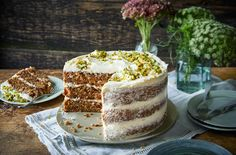 Sweet and lightly spiced, this layered carrot cake recipe with cream cheese icing is a classic bake to master. Learn how to make carrot cake at Tesco Real Food. Cream Cheese Recipes, Cream Cheese Icing, Easy Cake Recipes, Baking Recipes, Easter Cake Easy, Tesco Real Food, Sandwich Cake, Classic Cake, Cake Tins