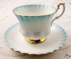 Royal Albert Tea Cup and Saucer Blue Rainbow Series, Vintage Bone China
