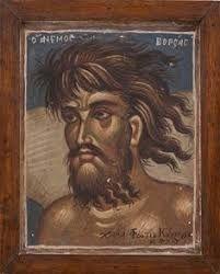 """ΦΩΤΗΣ ΚΟΝΤΟΓΛΟΥ: """"Ο Βορρέας"""" """"Η παρούσα ζωγραφία εφιλοτεχνήθη όπως εν σχήμασι γραπτοίς διαμένη πρό τών ομμάτων εις αιώνα ο κύκλος τής ελληνικής φυλής, από τών πρώτων αυτής προπατόρων μέχρι τών καθ' ημάς…Εζωγραφήθη δέ μετά πόθου καί φιλοτιμίας πολλής φαντασία καί χειρί Φωτίου Κόντογλου τού εκ Κυδωνιών τής Μικράς Ασίας"""" Byzantine Art, Byzantine Icons, Richard Burlet, Greek Art, Orthodox Icons, Mosaic Art, Fresco, Christian, Portrait"""