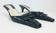 GUCCI Black Leather Tassel Kitten Heel Mules size 36C