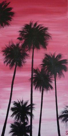 Sam McAleese - Sunset Palms - Original Handpainted Acrylic Painting on Canvas on Etsy, $130.00 AUD