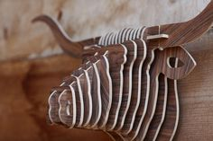 Bull Head 3D Wooden Puzzles For Adults Carved Wood by WoodKO