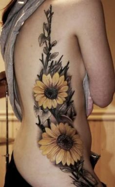 stylish sunflower tattoo